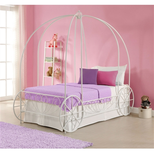 Twin size Princess Canopy Bed with Decorative Wheels in White Metal Finish: Product Code: TMCB6518485 : Create a wonderland in your princess's room with this Twin size Princess Canopy Bed with Decorative Wheels in White Metal Finish. Its whimsical and scrolled lines in a white finish create a warm, classic look that will easily coordinate with all room décor. A crown on top of the frame adds to the charm and beauty. The low-profile design and raised sides allow your princess to safely climb in and out of bed without any help. Fit for your princess, the Twin size Princess Canopy Bed with Decorative Wheels in White Metal Finish is the perfect addition to her bedroom! Accommodates a standard twin-size mattress (sold separately)