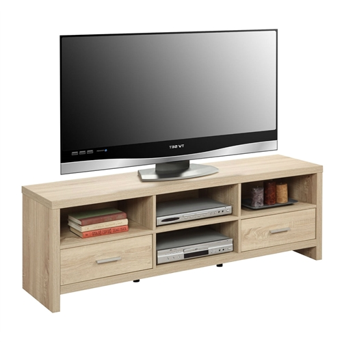 This Light Wood-grain Modern 60-inch TV Stand Entertainment Center is a great piece to accommodate our media needs. Featuring 2 drawers that allow you to store anything from games to remotes neatly. The 4 Spacious open shelves provide ample space for media components and gaming consoles. The Weathered White woodgrain finish will easily coordinate with existing decor, and sturdy construction will allow for years of enjoyment.