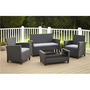 "4-Piece Outdoor Patio Furniture Set in Grey Resin Wicker and Cushions, DFP98456158 :  This 4-Piece Outdoor Patio Furniture Set in Grey Resin Wicker and Cushions with added cushions, love seat and glass top coffee table to turn your outdoor space into a comfortable seating and lounge area with this all-weather 4-piece resin wicker set. The chairs and bench both feature a removable soft seat cushion for added comfort and simply cleaning. The matching coffee table (18.7""L x 36.02""W x 15.56""H) is built with rust resistant powder coated steel frame for extra support and durability. Each chair measures 23.62""W x 22.05""D x 30.71""H, love seat bench measures 44.09""W x 27.17""D x 30.71""H. Low maintenance weather resistant resin wicker and powder coated steel frame; Matching tempered glass topped coffee table 30.7""L x 18.1""W x 15""H."