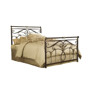 This Queen size Metal Sleigh Bed in Marbled Russet Finish is a study in affordable elegance and conveys an atmosphere of drama and romance. The subtly sleighed top rail on the headboard and footboard along with unique castings and intricate scrollwork give this bed an unparalleled presence. The shimmering soft golden highlights on the castings are the perfect accent to the rich marbled russet finish. This distinct color combination truly makes a compelling statement of understated luxury. Available in full, queen and king sizes. can be purchased as a headboard only.
