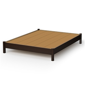 This Queen size Modern Platform Bed Frame in Chocolate Finish is great value for your money, as it does not require a box spring. In addition, the decorative legs will give your bedroom a stylish touch. It can be combined with all South Shore's collections available in Chocolate finish. It is designed to support a maximum weight of 500-pound. It is also available in Pure Black, Pure White or Natural Maple finish. It measures 82-1/2-inch long by 63-1/2-inch wide by 13-1/2-inch high. It is delivered in a box measuring 83-1/4-inch by 18-inch by 11-inch weighing 131-pound. Made of non-toxic recycled CARB2 compliant laminated particle panels. Complete assembly required by 2 adults. Tools are not included. Made in Canada.