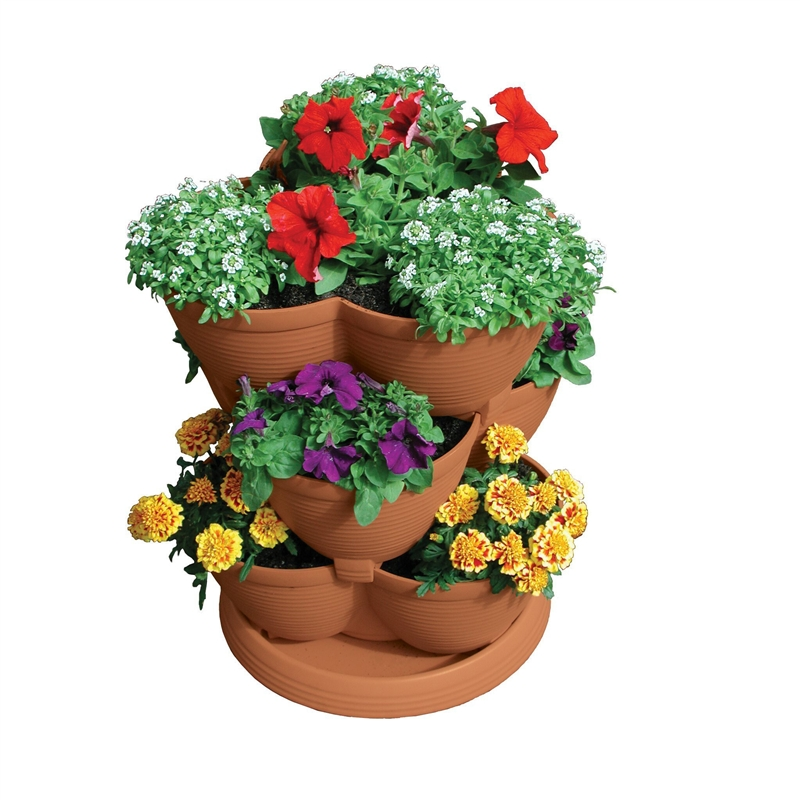 30-Quart Stacking Pot Planter in U.V. Protected Plastic, AMSAP3799 :  This 30-Quart Stacking Pot Planter in U.V. Protected Plastic is perfect for your deck, patio, front porch, balcony or inside your home. The multi-tiered planter is crafted from durable, U.V. protected plastic and can withstand all four seasons outdoors! With a 30-quart capacity, the Medium Stack-A-Pot is ideal for the creative gardener. You can even add more layers by purchasing multiple units! Your planter includes three layers plus a base; each layer holds three plants. Imagine your home cascading with colorful flowers, tasty herbs, succulent strawberries, or plump tomatoes. The layers stack upward, saving you valuable space, and collapse again for easy storage! The perfect gift for gardeners of all levels.