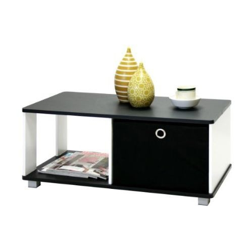 This Simple Black and White Coffee Table with Bin Drawer is simple and contemporary looking. The two units of non-woven bin-type drawers that open from both sides are perfect for storage of remote controls, TV snacks and more. Side shelf can be used for storing magazines, books, etc. Care instructions: Wipe clean with damped cloth. Avoid using harsh chemicals. Contemporary and simple design blends in with any modern furniture yet affordable; Sturdy; Easy Assembly; Suitable for office, living space, home, kids and student room.