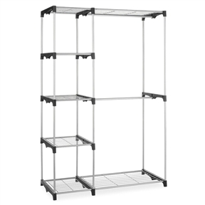 """Freestanding Closet Organizer Garment Rack Storage Unit with Hanging Rods,  DRC476915 :  This Freestanding Closet Organizer Garment Rack Storage Unit with Hanging Rods offers you a sturdy option for creating garment and accessory storage. Made with steel and heavy duty resin connectors, it is strong enough to hold your possessions while being light enough to move. It is designed with two hanging bars that will hold shirts, blouses, pants and jackets plus 5 small shelves and two large shelves. Use these for sweaters, hats, gloves, purses shoes and even totes. When assembled this unit measures 19.25"""" x 45.25"""" x 68"""". Center hanging rod is removable for longer garments; Sturdy silver coated steel frame with durable resin connectors; Easy to assemble."""