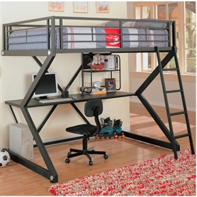 This Full-size Metal Bunk Style Loft Bed with Desk would be a great addition to your home. Also, it has a casual style and a black finish.