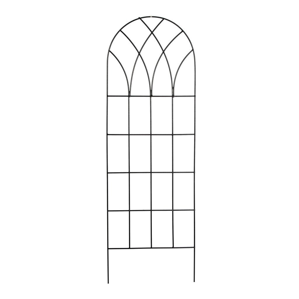 "60-inch Gothic Arch Top Metal Wall Trellis for Home Garden, GT359481 :  Bring classic architecture to your wall, fence or screen with this 60-inch Gothic Arch Top Metal Wall Trellis for Home Garden. The overlapping diamond pattern underneath the gentle arch is reminiscent of patterns found on vaulted cathedral ceilings from the Gothic period. A rectangular grid work below the decorative top creates a sturdy frame while offering several places for climbing plants to grasp as they grow and entwine. Create patterns on your trellises by training your plants to weave through the squares as they grow, for a more geometric garden. The two legs easily insert into the soil. Durable black polyester epoxy powder-coated finish. Sturdy solid round metal rod construction. Insert into a planter or use as a stand alone trellis. Use two or more together to form a screen. Measures: 60"" high x 20"" wide. Color: black."