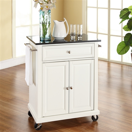This White Kitchen Cart with Granite Top and Locking Casters Wheels is designed for longevity. Panel doors and drawer front provide the ultimate in style to dress up your kitchen. The deep drawer is great for anything from utensils to storage containers. Behind the two doors, you will find an abundance of storage space for things that you prefer to be out of sight. The heavy duty casters provide the ultimate in mobility. When the cabinet is where you want it, simply engage the locking casters to prevent movement. Style, function, and quality make this portable kitchen cart a wise addition to your home. Use a soft clean cloth that will not scratch the surface when dusting. Use of furniture polish is not necessary. Should you choose to use a furniture polish, test in an inconspicuous area first. Use of solvents of any kind could damage your furniture's finish. To clean, simply use a soft cloth moistened with lukewarm water, then buff with a dry soft clean cloth.