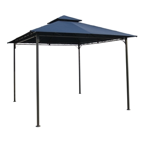 10Ft x 10Ft Outdoor Garden Gazebo with Iron Frame and Navy Blue Canopy, NBG984514 :  This 10Ft x 10Ft Outdoor Garden Gazebo with Iron Frame and Navy Blue Canopy would be a great addition to your home. Constructed with a durably and stylish black powdercoated outdoor iron frame. UV light fading protection against harsh outdoor sunlight; Comes in a variety of unique and fun colors to choose from; This stylish canopy measures 102 High, 116 Wide, and 116 Deep; Perfect for gardens, picnic events, and pool side gatherings; Part of the International Caravan Furniture Collection; Color: Black; Product Type: Event Canopy; Shape: Square; Frame Finish: Black; Screened: No; Foldable: Yes; Country of Manufacture: China; Assembly Required: Yes.