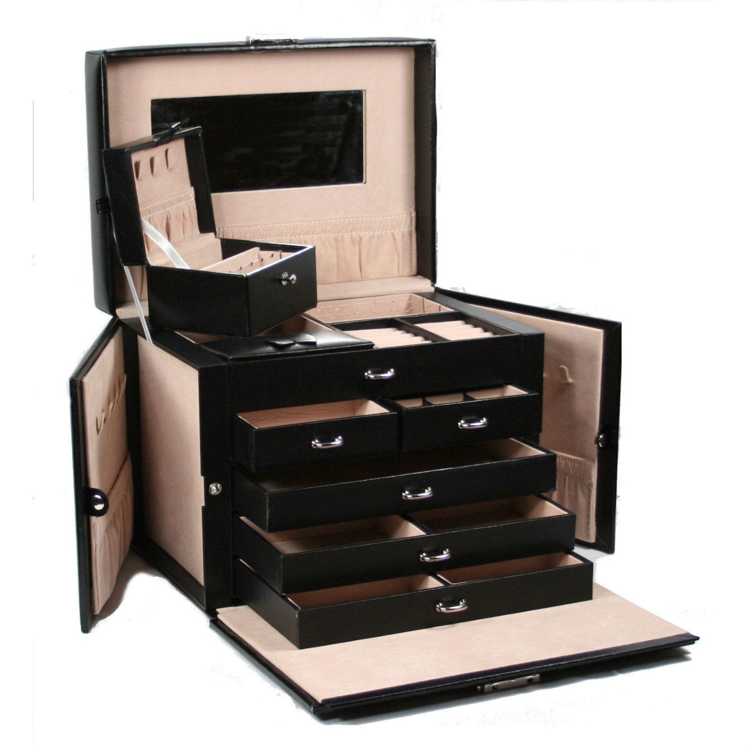 5-Drawer Black Leather Jewelry Box Travel Case with Key Lock, BLJB698413 :  Elegance par excellence. Hand-crafted of the finest sleekest black leather, innovative in design, delicious tone, this 5-Drawer Black Leather Jewelry Box Travel Case with Key Lock features convenient compartments, unique fold out panel design for hanging necklaces and bracelets, adorable mini travel case, gleaming gold-plated clasps, and large capacity to hold even the largest jewelry collections, Showcase your collection in glamor and style in this timeless jewelry case. This large beautiful leather jewelry box features 4 separate sections (see picture). It can be easily closed with a snap (see picture) and secured with a lock. Inside lining is in light pink. 20 compartments; 10 necklace hooks; 3 large storage pouches;Lined in silsuede and finished in oiled leather and durable synthahide; 2 removable earring holders which hold up to 30 earrings (10 hanging, 20 posts); Twin fold out side compartments with snap closures; Lock with a key; Large mirror on top lid.