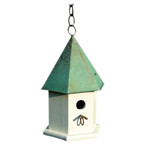 "White Wood Bird House with Verdi Green Copper Roof - Made in USA, GWBH7746 :  This White Wood Bird House with Verdi Green Copper Roof - Made in USA has a stylish hexagonal body of solid cypress and a six sided roof. Remove roof and clean out debris, spray with a mild bleach and water solution then rinse thoroughly and let dry in the sun. Hanging loop and matching copper perch complete the look, with easy cleanout and optional mounting; Clean outs, ventilation and drainage built in; Details: Handcrafted of solid cypress; Weather Resistant Details: Weather resistant finish; Tools Needed for Assembly: Screwdriver and drill; Parts Needed: Chain or rope for hanging or screws and plate with post for mounting; Product Warranty: Lifetime. Nesting Height: 60""-72"" or higher Feet; Outdoor Use: Place in a spot with afternoon shade; Animal Capacity: Enough room for 1 family of birds."