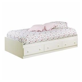 For a stylish, updated version of cottage country, this Twin-size Platform Bed with 3 Storage Drawers in White Finish is an ideal choice when decorating a child's or teen's room. This is simple in design, featuring three generous-sized drawers for convenient under-bed storage. Has Three Pull-Out Drawers; Five Year Manufacturer's Limited Warranty; Perfect for girls; Mattress and linens not included.