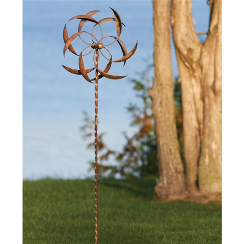 "Copper Plated Metal Wind Spinner Stake for Outdoor Yard Garden, AGFS8549851 :  This Copper Plated Metal Wind Spinner Stake for Outdoor Yard Garden will add a decorative element to your garden. In order to maximize the spinning capability of this ornament, be sure that it is properly positioned in an area that gets plenty of wind. The parts of the Feather Spinner can also be ""rearranged"" to amplify its spinning. Artistic kinetic design."