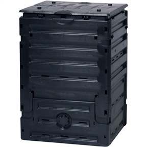 80 Gallon Black UV-Resistant Polypropylene Compost Bin, BS80GMC5999 :  Turn your kitchen and yard waste into rich garden compost with this 80 Gallon Black UV-Resistant Polypropylene Compost Bin. Made in Germany from recycled UV resistant black Polypropolyne this is a great quality item for both beginners and experienced compost gardeners. The Master composter requires no tools for assembly and features an 80 gallon capacity. Folding bottom compost door folds up for easy access; Secure wind-proof latches keep top closed.