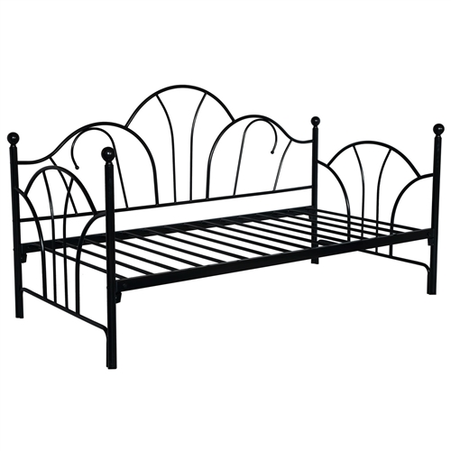 Twin size Contemporary Black Metal Day Bed Frame with Slats: Product Code: MDBHB15484 : This Twin size Contemporary Black Metal Day Bed Frame with Slats beautifully crafted with a sturdy frame. Box spring not required. Mattress sold separately. Number of Slats Required: 15; Bed Rails Included; Can be used with a trundle; Fits twin size mattress; Style: Contemporary; Frame Material: Metal; Mattress Included: No; Daybed Weight Capacity: 300lbs; Distressed: No.  Country of Manufacture: China; Assembly Required: Yes; Installation Required: No; Additional Parts Required: No.