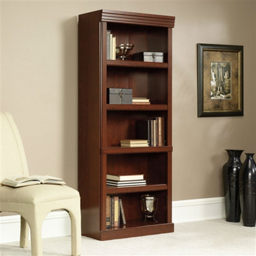 Warm and inviting, this bookcase has been designed for those seeking a classic English look to complement any home or office decor. Beautiful cherry laminate finish. Unquestionably executive in appearance, this bookcase offers the durability of a heat, stain and scratch-resistant work surface.