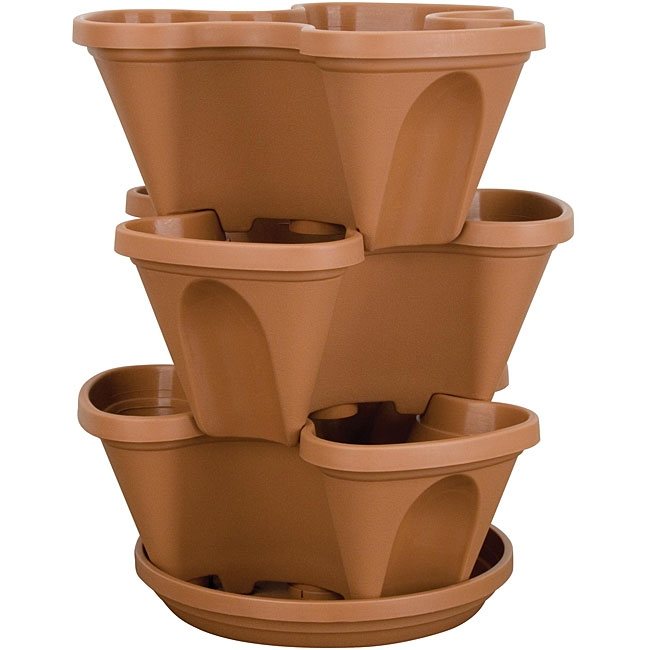 14-Qurt Min-Stacking Planter Pot, AM14Q2694 :  This 14-Qurt Min-Stacking Planter Pot is perfect for a deck, patio, front porch, balcony, or indoors. Also, is crafted from durable, U.V.-protected plastic. Imagine a home cascading with colorful flowers, tasty herbs, succulent strawberries or plump tomatoes with a multi-tiered planter; Planter makes a perfect gift for gardeners; Multi-tiered planter is crafted from durable, U.V.-protected plastic; Layers stack upward, saving valuable space, and collapse again for easy storage.