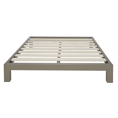 This Queen size Champagne Metal Platform Bed Frame with Wood Slats makes a brilliant addition to any bedroom. It radiates style, bringing a dramatic to any bedroom. Enjoy lifelong performance with its Grey / Champagne coated finish that resists rust, chips, scratches and wear. This platform bed frame is built with durability in mind. The bed frame benefits from the strong steel frame and legs. It is designed to provide reliable support for your memory foam, latex, or spring mattress. Sturdy enough to support heavier deluxe mattresses. The solid slats are constructed with excellent strength to provide sturdy support to the mattress. Its frame construction perfectly embeds your mattress to avoid sliding or wobbling. This protects your mattress from warping and sagging to ensure longer mattress life and comfort. With this bed frame, you'll eliminate the need for a base or box spring. Easy to set-up with no additional tools needed and easy to disassemble as well. It features a height that is just perfect for getting in and out effortlessly. This piece surely complements all your furnishings and bedroom decor. Simple and stunning. Definitely the bedroom solution that you've always wanted.