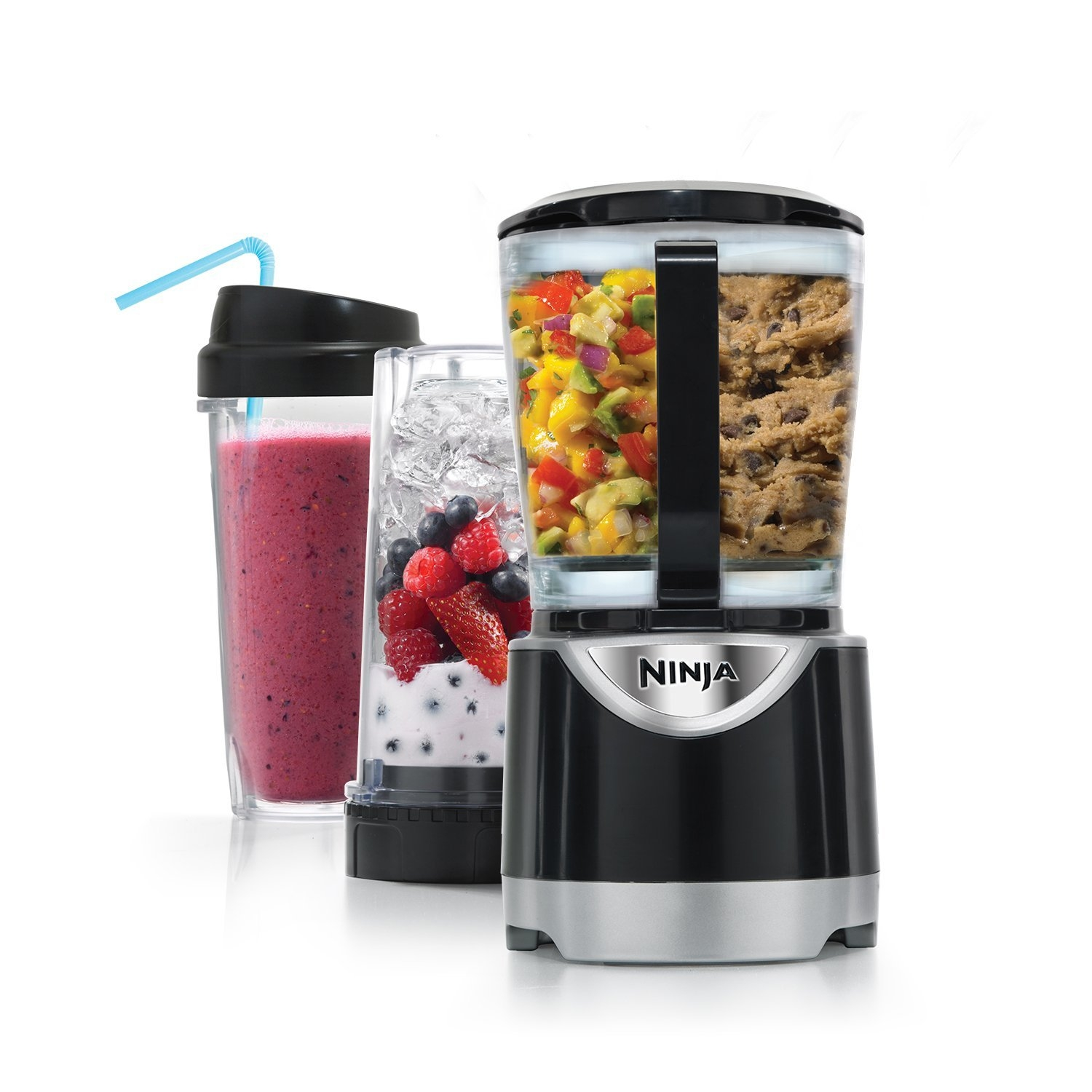 This 550 Watt Profession Power Kitchen Blender Food Processor gives you the power and convenience to live a healthy lifestyle by combining Ninja Total Crushing technology with Nutri Ninja cups, a processor bowl and easy-to-use attachments for all your kitchen needs. With 550 watts of power, Pulse Technology provides consistent evenly processed & blended ingredients every time. Crush ice into snow, blend delicious drinks, process fresh ingredients evenly, juice whole fruits and vegetables, and knead dough! Total Crushing Technology delivers unbeatable professional power with blades that pulverize and crush through ice, whole fruits and vegetables in seconds. Blast ice into snow in seconds and blend your favorite ingredients into delicious sauces, dips and smoothies!