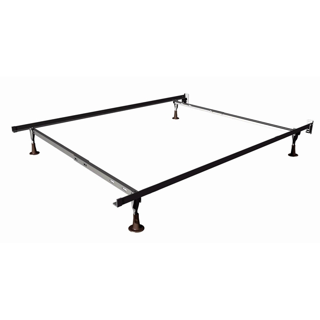 Twin/Full Size DuraLock Metal Bed Frame with Glides, MTFSILBWG59 :  This Twin/Full Size DuraLock Metal Bed Frame with Glides adjusts for both twin and full size beds. This frame is designed for bolt-on headboards and has two-inch plastic glides for easy movement.
