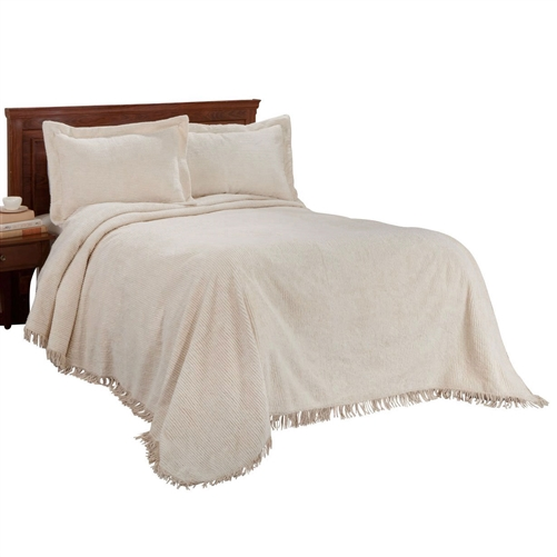 "This Queen size Natural Off-White Beige Cotton Chenille Bedspread with Fringe Edge is an extraplush, 100 cottonribbed chenille bedspreads with additional 3"" fringe adds soft, cozy warmth for supreme sleeping. Available in twin, 108"" long x 80"" wide; full, 108"" long x 96"" wide; queen 115"" long x 102"" wide; king 105"" long x 118"" wide. Machine wash cold with like colors, tumble dry low. Imported. Shams sold separately."