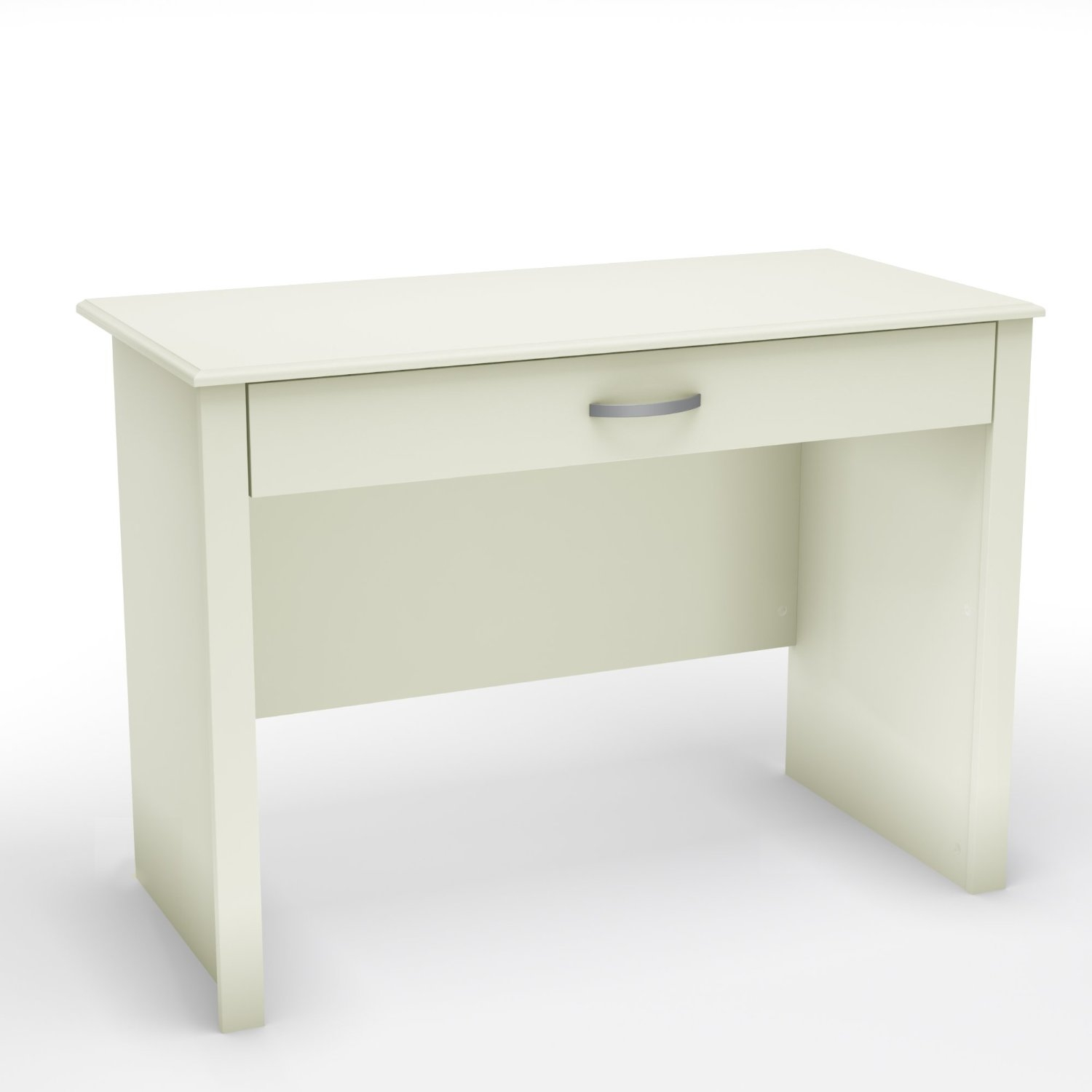 This Contemporary White Laptop Computer Desk features an unfettered design and clean shapes to give the home office a stylized minimalist look. The work surface of this desk is a perfect size for laptop computers, but still large enough to accommodate desktop computers. The sliding keyboard tray is a practical feature, and everything tucks away neatly thanks to the tray's folding front. It is made of recycled CARB compliant particle panels. Metal glides. It has to be assembled by two adults.