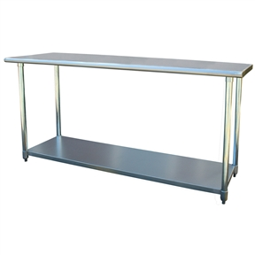 This 2Ft x 6Ft Stainless Steel Top Utility Table Workbench Great for Kitchen or Garage is the perfect addition to your kitchen, garage, or basement. Ideal for cooking and working without making your back ache. Attractive contemporary design fits into any decor.