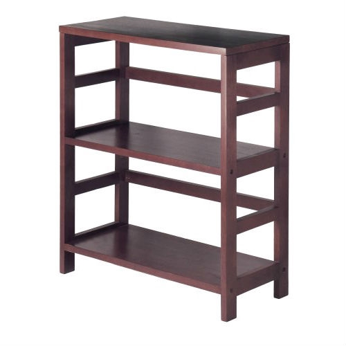 This Contemporary 3-Tier Bookcase Storage Shelf in Espresso Wood Finish has two sections to hold the Espresso Large Storage Basket or two Small Storage Baskets perfectly. Mix and match with the other Espresso Storage Shelves. Add more shelves to create a unique storage wall unit, available 2-Shelf narrow, 2-Shelf wide, 3-Shelf wide and 4-Shelf narrow; Wired Baskets are sold separately, Set of 2 Small or Set of 3 Baskets, Large and 2 Small; Spare lines promote modern feel.