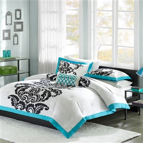 Bring home this fabulous Twin / Twin XL size Modern Teal Damask Comforter Set . It is a beautiful bed set featuring a stunning design dressed in a mix of gorgeous white, teal and black shades. The set can instantly transform the look of any room in your sophisticated decor space. This set comprises of a comforter, 1 sham for twin size or 2 for full size and a decorative pillow. Its striking look showcases a large damask motif running up to its center. It is paired with a teal flange around all its edges. The reverse side is a teal that adds a bright touch to the set. It is the ideal set for young or teenage girls. The cozy and vibrant Comforter Set is a perfect buy. Its comforter/sham face is made from supreme quality 100% polyester material. The comforter/ sham back is created from 100% polyester brushed fabric. This comforter has a filling of 200g poly. Its pillow is filled with poly fill and has a soft pillow cover. Its classy and stylish appearance can match the settings of a traditional and modern home. Experience comfort, opulent style with an understated elegance by getting this luxurious comforter set.
