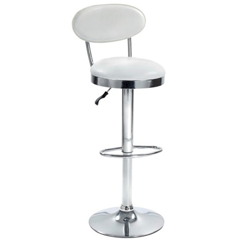 This Beer Bar Stool Chair w/ Modern Adjustable Height & Swivel has a heavy chrome base and is height adjustable.