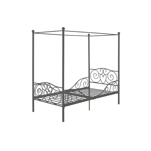 "Twin size Metal Canopy Bed in Pewter Grey Finish: Product Code: DTMCB554471 : Princess canopy twin-sized, heart scroll design metal bed and bedframe makes great gift for any child or grandchild! make bedtime more enticing with this Twin size Metal Canopy Bed in Pewter Grey Finish. The embellished heart scroll design on both the headboard and footboard evoke an elegant, yet fun look to your princess's room. The four canopy posts, topped with gracious finials add the finishing touches to this delicate piece. Highlight its beauty even more by placing sheer curtains over the posts (not included). The layered effect creates a special place for your little girl to play and sleep. Designed to fit a standard twin mattress, this bed includes metal slats that eliminate the need of a box spring.  Round finial posts for a delicate touch;  Slat support system makes the use of a box spring optional;  No need for ""big box"" shopping! great furniture, delivered to your door! amazon prime available."