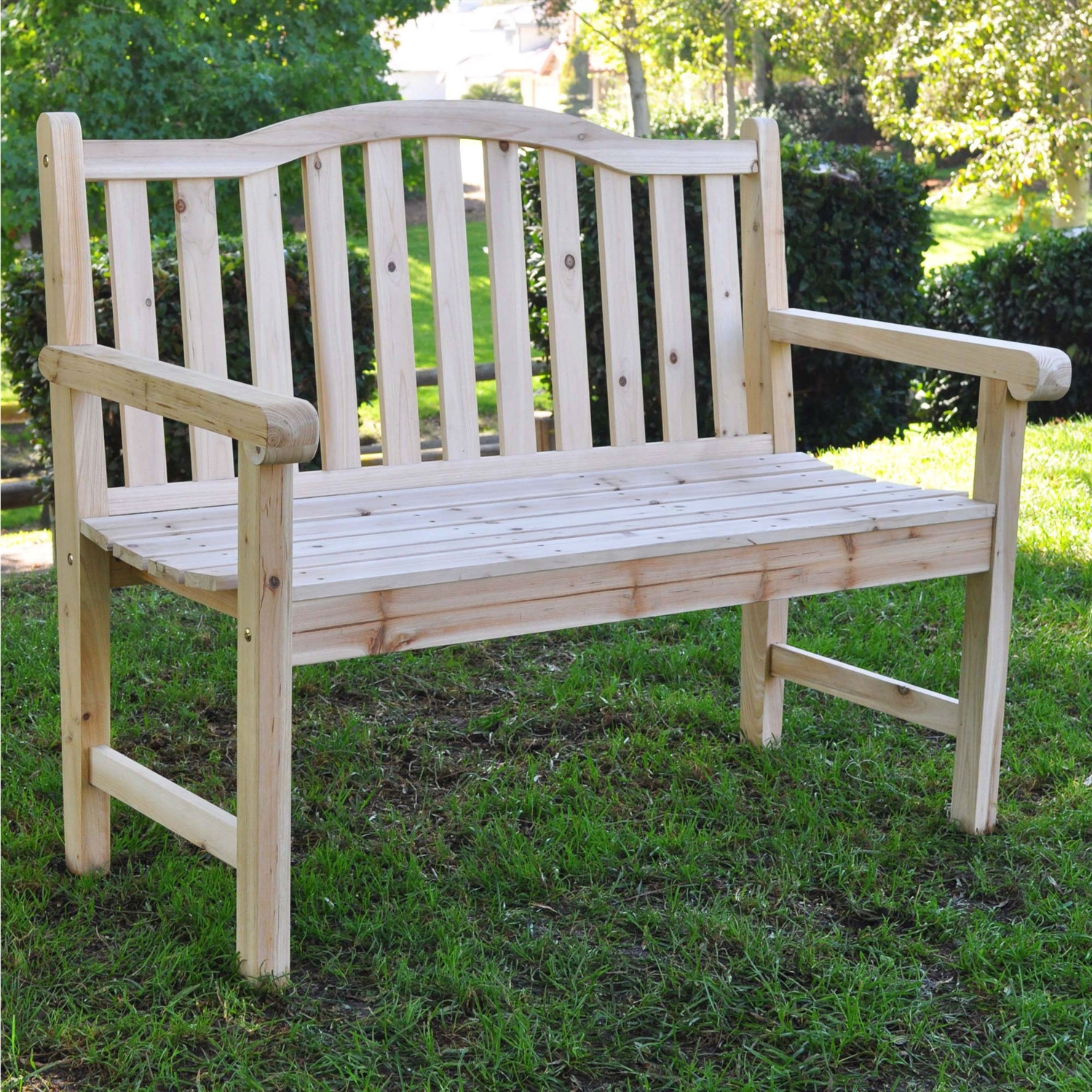 Outdoor Cedar Wood Garden Bench in Natural with 475lbs. Weight Limit, BWGBN1394 :  This Outdoor Cedar Wood Garden Bench in Natural with 475lbs. Weight Limit would be a great addition to your home. It is recommended that you apply one coat of wood seal on unfinished cedar wood furniture the first year, and for painted furniture apply one coat of polyurethane annually for protection against weather, heat and sunlight. If the furniture is to be placed in direct sunlight or excessive temperatures it is best to apply 1 or 2 coats of polyurethane prior to use. For added longevity it is best to place furniture in a shady area. To clean use a soft cloth and water. Let the wood air dry. As cedar wood ages naturally, its rustic character will be enhanced. Due to the nature of wood, surface cracking and slight color variations will occur. The wood and the product will remain structurally sound for years. Assembly Required: Yes; Tools Needed for Assembly: Screwdriver ; Product Warranty: 1 year warranty; Style: Contemporary; Seating Capacity: 2; Weight Capacity: 475lbs. Commercial Use: Yes; Country of Manufacture: China.