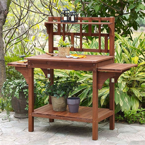 Solid Wood Potting Bench with Flip-up Sides and Garden Tool Shelf in Cinnamon, CHPB658184 :  Get your garden growing strong with this Solid Wood Potting Bench with Flip-up Sides and Garden Tool Shelf in Cinnamon. Solid fir wood planks in a natural, medium brown stain make up the ample work space and bottom shelf. A lowered side shelf creates additional working space, and the top shelf holds tools and other small gardening necessities. The back of the hutch features a beautiful Craftsman design to add even more appeal to your backyard. Top tool shelf has 4 hooks for hanging tools; Side tables flip up for extra space; Warranty 1 Year.