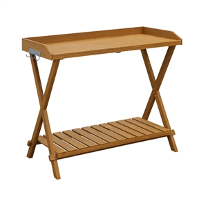 Home Garden Patio Potting Bench Gardening Table - Easy to Assemble, CPBF659514 :  Increase your gardening fun by adding this Home Garden Patio Potting Bench Gardening Table - Easy to Assemble. Featuring a spacious workspace with pre-attached hooks for easy access tools. It provides a slatted bottom shelf that will help reduce the mess lingering solid and dirt. Complement outside décor; 1 Year warranty; Product Type: Stationary; Material: Wood; Color: Red Cedar; Outdoor Use: Yes; Eco-Friendly: Yes; Country of Manufacture: China; Assembly Required: Yes; Installation Required: No; Additional Parts Required: No; Product Warranty: 1 year.