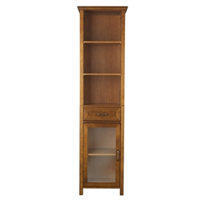 Oak Finish Bathroom Linen Tower Storage Cabinet with Shelves, EAKC12941 :  This Oak Finish Bathroom Linen Tower Storage Cabinet with Shelves with crown molding on the top combines a traditional style and storage for any bathroom. Its design offers plenty of storage with one door and one drawer with adjustable shelves and two open shelves making it easy to store items of different heights. The metal glider drawer allows for easy open and close operation. The tempered glass-paneled doors provides a clear view into the cabinet, and features a metal handle for easy opening. This sturdy cabinet comes with assembly hardware. Classic metal design, crown molding and adjustable shelves provide elegant bathroom storage; Inner shelves are adjustable, easy storage for tall objects Metal drawer gliders provide ease of open/close operation; Assembly instructions offered in three languages: English, Spanish & French with a clear diagram style.