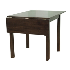 This Contemporary Sold Wood Drop Leaf Dining Table in Espresso is the perfect to bring style into a small kitchen area. This piece is versatile it can be made smaller by dropping the one or both leafs or can be expanded to 47-inch to provide a larger dining area. Table measures 27-1/2-inch by 29-1/2-inch (expands to 47-1/4-inch ) by 29.12-inch H and is constructed of solid rubber wood. Requires some assembly.