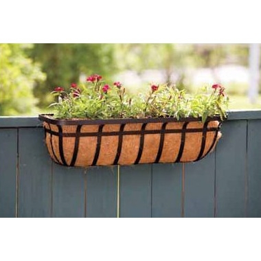 30-inch Window/Deck Planter with Coco Liner in Black, PFIS30I1970 :  This 30-inch Window/Deck Planter with Coco Liner in Black has flattened metal bars which make up the entire motif of the product and give the basket a very clasic, sturdy look and feel. The included coco liner prevents soil from spilling out, and the large 29 Inches long planting area offers plenty of room for flowers and vines. Included is mounting hardware which allows for easy installation. Made of steel; Measures 8-inches in width by 30-inches in length by 7.8-inches in height.