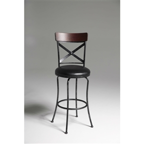 Long, sloping legs and a rectangular seat with softened corners accent the straight lines in the seatback of this Black and Cherry 30-inch Metal and Wood Bar Stool with Swivel Seat. Rich dark cherry stained wood is used to top the seatback, with a Black Fleck metal finish for the rest of the piece. The black faux leather upholstery gives the seat a comfortable feel that'll help you kick back and relax. Seat Style: Round; Seat Color: Black; Distressed: No; Frame Material: Wood; Metal; Seat Material: Faux leather ; Seat Back Type: Cross back; Leg/Base Type: 4 legs; Footrest Included: Yes.