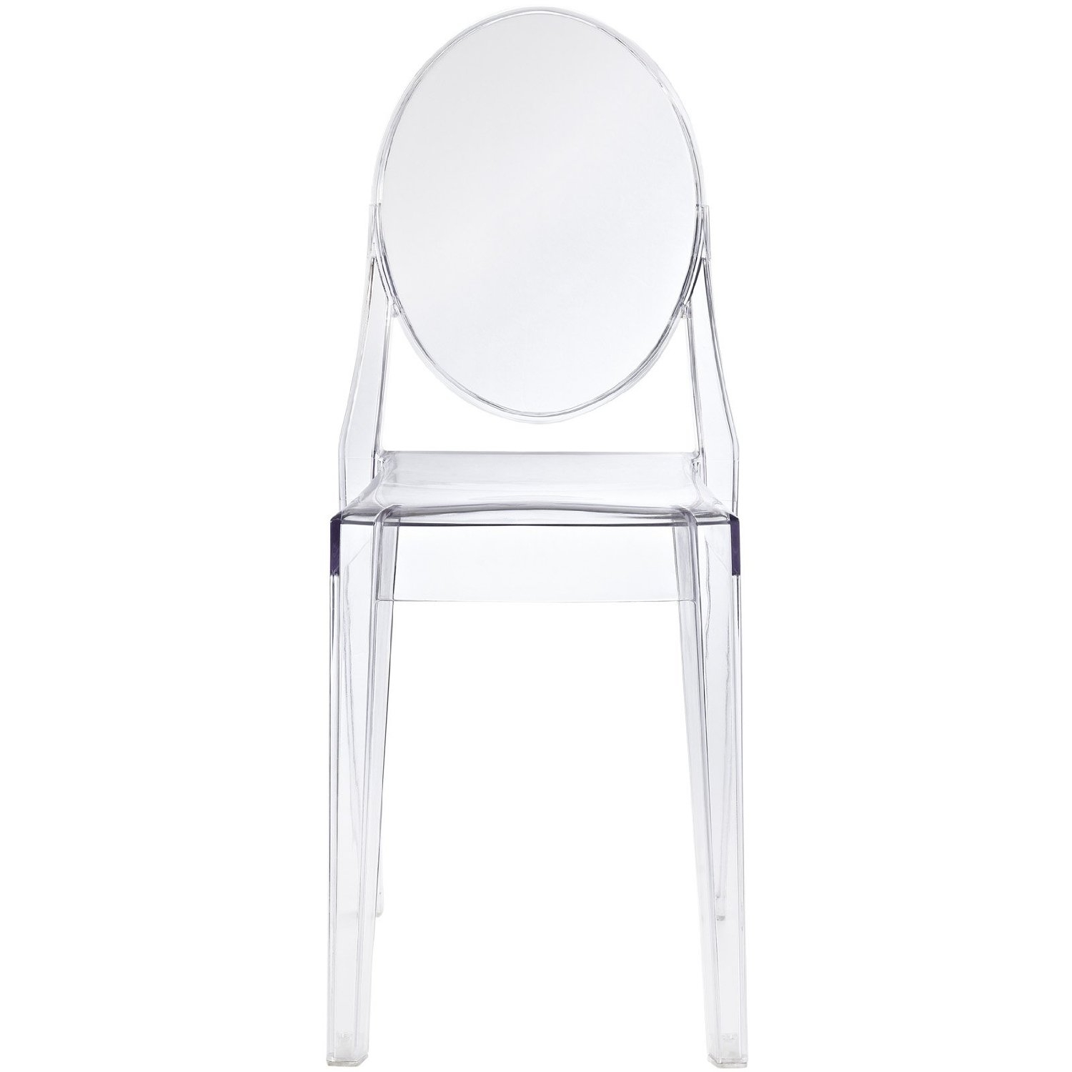 """Combine artistic endeavors into a unified vision of harmony and grace with this Stackable Clear Acrylic Dining Chair for Indoor or Outdoor Use. Allow bursts of creative energy to reach every aspect of your contemporary living space as this masterpiece reinvents your surroundings. Surprisingly sturdy and durable, the Ghost Chair is appropriate for any room or outdoor setting. Pure perception awaits, as shining moments of brilliance turn visual vacuums into new realms of transcendence. This item is a high quality reproduction of the original. Overall Product Dimensions: 36""""H x 15""""W x 19""""D Seat height: 18.5"""" Item Ships Small Package Carrier."""