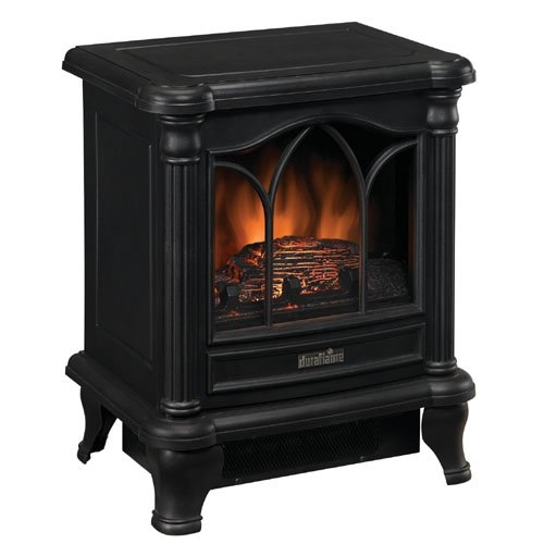 Black Freestanding Electric Stove Style Fireplace Space Heater, DFES990515 :  This Black Freestanding Electric Stove Style Fireplace Space Heater adds charm, ambiance and warmth to any room. This stove has a charming picture window with arched frame detailing. The stove can work with or without heat for all-season enjoyment. Product dimensions: 16.25 inches width x 11.61 inches depth x 19.72 inches height; Net Weight: 14.74 lbs. Supplemental heat for up to 400 sq. ft; 1500-Watts/4600btu's per Hour.