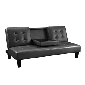 Comfort and class collide with this Dark Grey Faux Leather Multi-Positional Futon Sofa Bed Sleeper Lounger. The gray faux leather upholstery is chic, clean and modern, but the cushions provide all the relaxation of a soft pillow. Its Click-Clack technology lets you easily open and close the futon with just one push or pull and the multi-positioning back can be set at your favorite level. Your entertainment room will be ready for game day or movie night with the fold-down tray that fits two glasses and half-time snacks. Bring the Julia Convertible Sofa Bed with Drink Holder home and start the show.