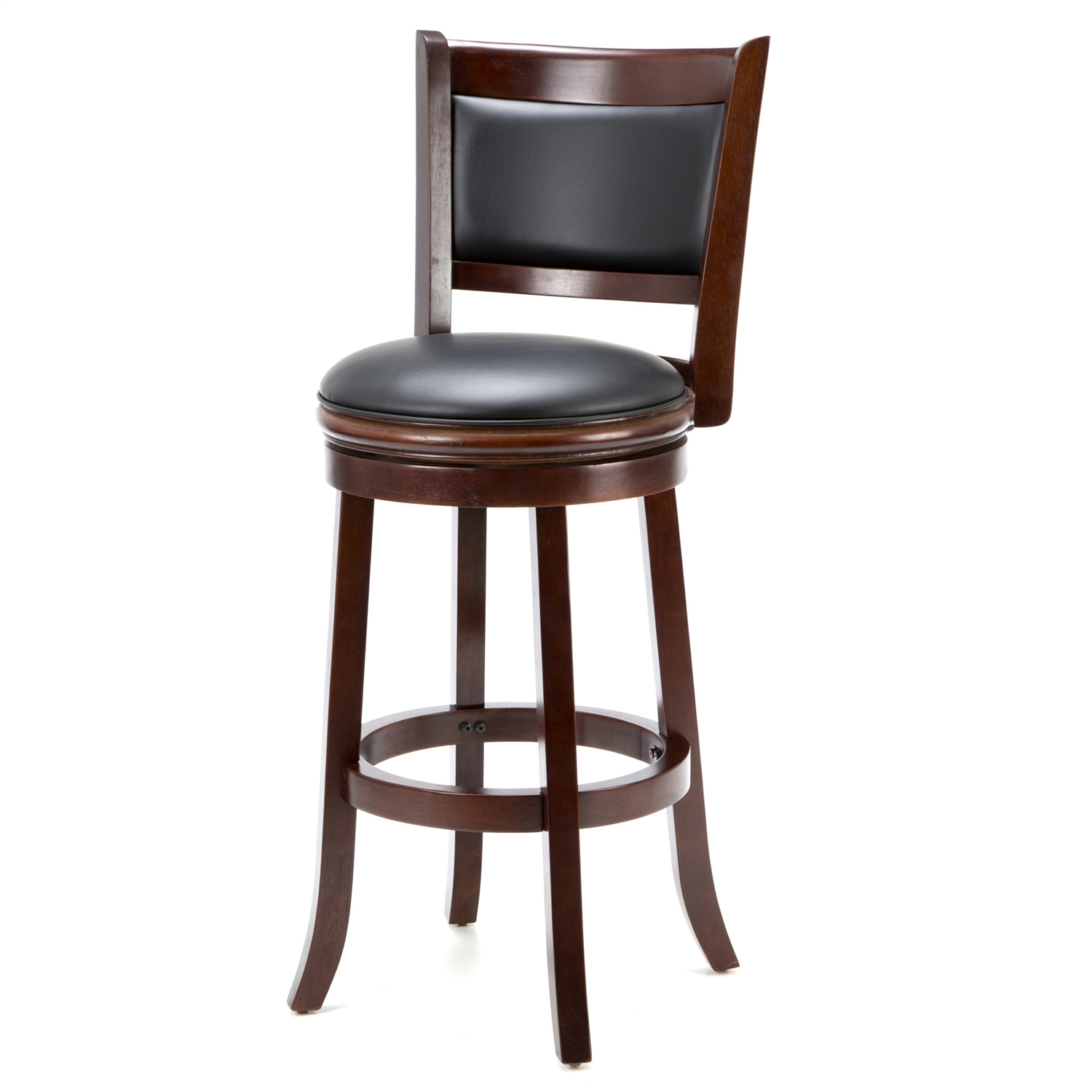 Accent your bar space with this classy and stylish Cherry 29-inch Solid Wood Bar Stool with Faux Leather Swivel Seat. Its attractive and durable design is a perfect fit for all decor settings. It occupies less space and proves highly useful when you have guests at home.This stool has a solid hardwood construction that ensures it lasts for many years to come. The lustrous finish lends it a timeless look and adds to the appeal. It is fitted with a rich faux leather seat with high density foam to offer comfortable seating and enhance its appearance. It has flawlessly crafted French style legs with tempered bottoms. The steel ball bearings keeps it steady. The swivel ensures unrestricted movement. While the full ring footrest lends more strength and stability. The back support makes the seating experience more relaxed.The bar stool has a weight capacity of 250lbs. Its seat height is 29''. The overall dimensions of the bar stool are 43.5'' in height, 17'' in width and 18'' in depth. It is available in different shades to best suit your decor. This stool is best paired with an elegant bar table to complete the sophisticated look of your decor.