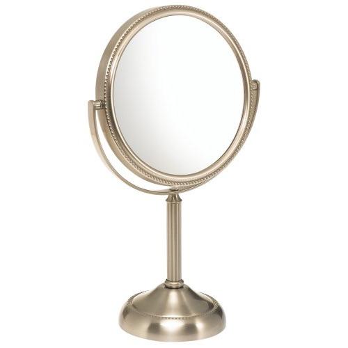 Small Round Table Top Vanity Mirror - 10X Magnification, J6ITMN149 :  This Small Round Table Top Vanity Mirror - 10X Magnification stands upright on countertops, vanities and tables and its lustrous finish is perfect for the bathroom. What makes this mirror unique is its swivel design and stabilized base. The Jerdon JP910NB 6-Inch Table Top Mirror is 6-inches in diameter and features a 10x magnification. This mirror has two reflective sides that swivel for a regular or a 10x magnification mirror. This product glides with the touch of a finger, but is firm enough to hold its place for odd angles. The Jerdon JP910NB First Class Table Top Mirror is 11-inches (H) and adjusts to all angles for a dynamic point of view. Jerdon provides a 1-year, limited warranty that protects against any defects due to faulty material or workmanship. Jerdon Style has earned a reputation for excellence in the beauty industry with its broad range of quality cosmetic mirrors (including vanity, lighted and wall mount mirrors), hair dryers and other styling appliances. Since 1977, the Jerdon brand has been a leading provider to the finest hotels, resorts, cruise ships and spas worldwide. Jerdon continues to evolve with and shape how stylists envision beauty and fashion.