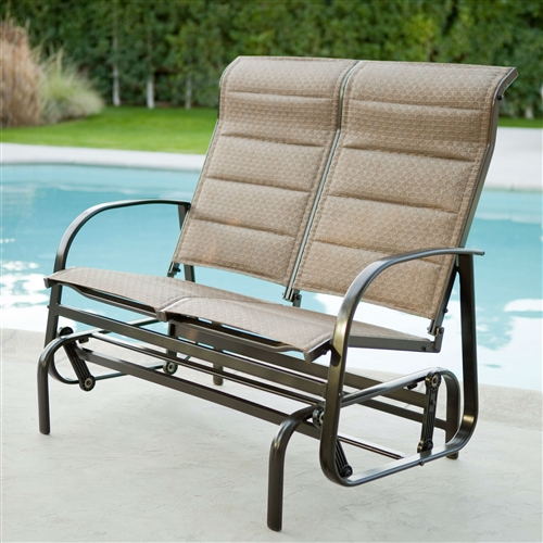 Weatherproof Outdoor Loveseat Glider Chair with Padded Sling Seats in Bronze, WDRGP844165 :  There's nothing more relaxing than swaying forward and back on a comfortable, attractive glider, and that's just what you can do with this Weatherproof Outdoor Loveseat Glider Chair with Padded Sling Seats in Bronze. This loveseat offers the comfort of cushions, which are quick to dry and perfect by the pool. Choose between two seat colors to accent the powder-coated, weather-proof mocha brown finish. Shaped into eye-catching lines, this aluminum frame is going to look like new for years thanks to its weather- and rust-resistance. This glider is so easy to clean. Simply spray it down with a hose and clean with a mild soap and water solution. Some assembly is required. Material Aluminum; Seat Width 4 foot; Seating 2 - 3; Person Style Classic, Bench.