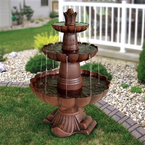 3-Tier Outdoor Garden Fountain in Durable Poly-Vinyl Composite - Bronze Color, GF54189415 :  Give your yard a professionally landscaped look with this 3-Tier Outdoor Garden Fountain in Durable Poly-Vinyl Composite - Bronze Color. The simple design allows the water to flow evenly down the tiers, and the deep bronze color will fit in nicely with your other outdoor furnishings. The fountain is made of durable polyvinyl composite and designed specifically for use outdoors, so it can handle all types of weather and will hold up over time. The included pump lets you adjust the water flow to suit your personal preference. International Shipping Canada; Light No; Location Outdoor; Style Tiered; Type Lighted, Floor; Usage Residential; Warranty 1 Year Limited.