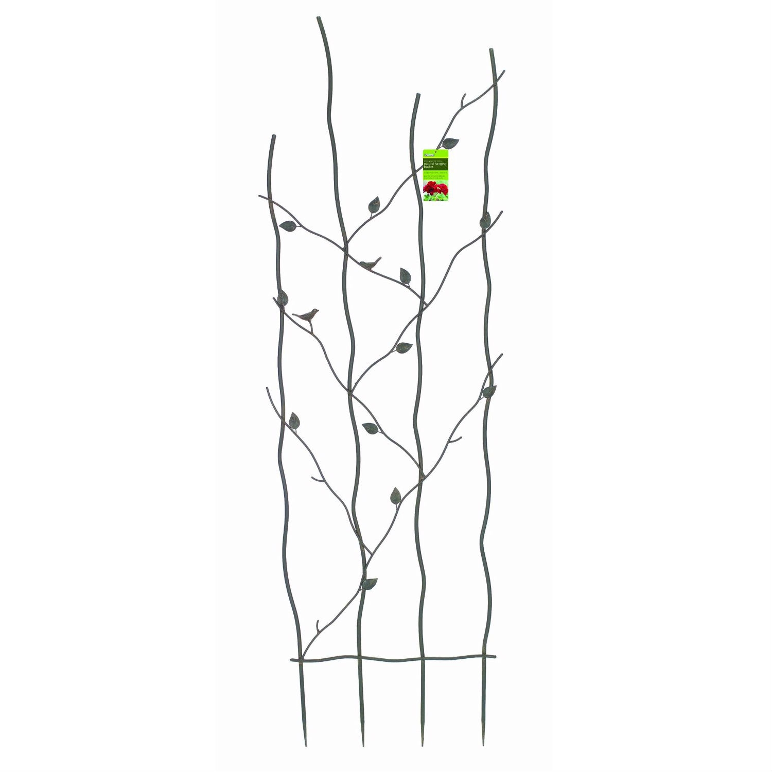 """60-inch High Metal Garden Trellis with Climbing Vine Leaf Design, GNMT41951 :  This 60-inch High Metal Garden Trellis with Climbing Vine Leaf Design adds an interesting feature to your garden wall, fence or screen. Delicate looking branches and fun little birds decorate the undulating design. Sturdy steel construction with powder-coated polyester epoxy finish. Espresso color. Perfect for long-stemmed or climbing plants such as roses, sweet peas and clematis. Measures: 5' tall x 20"""" wide."""