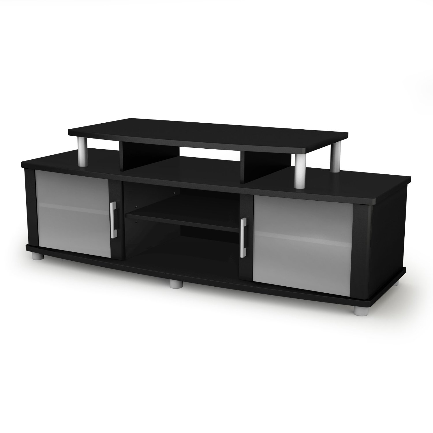 This Modern TV Stand in Black Finish with Glass Doors - Fits up to 50-inch TVs can accommodate LCD and plasma televisions up to 50-inch. Curved shapes, metal accents, frosted glasses, ample storage and an original contrast finish all add up to a popular and unique TV stand. It combines form and function to perfection. Your living room has never been so organized! Features legs and metal handles in a brushed silver finish. This unit is able to support a television of up to 150-pound on a shelf that measures 39-1/2-inch wide by 19-1/2-inch deep. Also available in two-tone Honeydew & Charcoal or Chocolate finish.