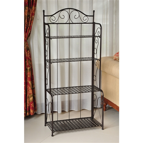 This Indoor / Outdoor Folding Iron 4-Shelf Bakers Rack in Bronze with Lattice Shelves is perfect for any space lacking storage or decorative flair. Its four spacious shelves are perfect for cookbooks, or cherished collectibles inside or gardening tools and empty pots outside. The convenient folding feature makes it easy to transport and store this multi-functional piece. This also makes a great potting bench with workspace and storage for your pots. Choose from 3 color finishes.