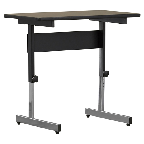 """This Stand Up Desk Adjustable Height Sitting or Standing Writing Tablet Computer Laptop Table is a blend of simplicity and versatility. The writing table has a simple yet sturdy construction that adds to its reliability. The modern style of the table blends with most room decors and adds charm. The Stand Up Desk Adjustable Height Sitting or Standing Writing Tablet Computer Laptop Table is constructed from wood and metal that ensures years of reliable use. The writing table is available in multiple sizes that let you choose the one well suited for the decor. The powder coated steel finish provides durability to the table. The surface is perfect for a laptop or daily paper work. The table comes with height adjusting feature that makes it easy to work on. The height of the table can be adjusted up to 33"""". The open space under the table provides with good leg room that makes your work routine comfortable. The desk has four floor levelers for stability on an uneven surface. The classic looks and excellent functionality makes this table the perfect addition to most offices or homes. The writing desk requires assembly that can be done effortlessly. The desk is easy to care for and can be wiped with a damp cloth to keep clean."""
