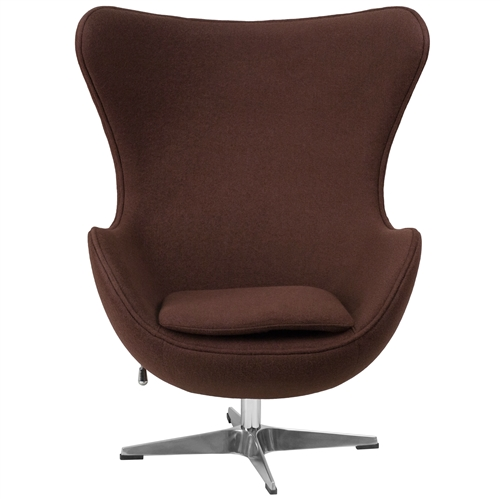 This Brown Wool Fabric Upholstered Egg Shaped Modern Arm Chair will become everyone's favorite chair whether it is used in the home or office. The egg chair can be used in the home but will add a distinguished look to your office or lobby for guest seating. The design of this chair is a classic mid-20th-century design that will conform in any era. This chair features a tilt lock mechanism that offers a comfortable rocking/reclining motion. Chair rotates 360 degrees to provide easy access to a greater range of area. The deep and wide seat and back are designed to enclose your entire body. Integrated curved arms; Features a tilt lock mechanism that offers a comfortable rocking/reclining motion; Chair Design: Lounge chair; Seating Firmness: Firm; Frame Finish: Chrome; Upholstery Material: Wool; Cushion or Upholstery Fill Material: Foam; Contains Flame Retardant Materials: Yes; Non-Toxic: Yes; Removable Seat Cushion: Yes; Removable Back Cushion: No; Reversible Cushions: Yes; Removable Cushion Cover: Yes.