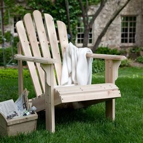 Unfinished Asian Fir Wood Adirondack Chair with Contoured Seat and Wide Armrests, CHAC115548 :  You'll find it easy to relax when you have this Unfinished Asian Fir Wood Adirondack Chair with Contoured Seat and Wide Armrests waiting for you to come home and to seat you in luxurious comfort each evening. This chair is built from solid fir, so it will hold up to the abuses of being used outside and retain its beauty in the face of whatever Mother Nature will throw at it. It is unfinished, so you can paint or stain it whatever color you like best, or you can leave it to weather to a silvery patina on its own. Comfort back for hours of relaxation; Surface Natural.